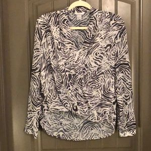 Long Sleeve Sheer H&M Zebra Print Blouse